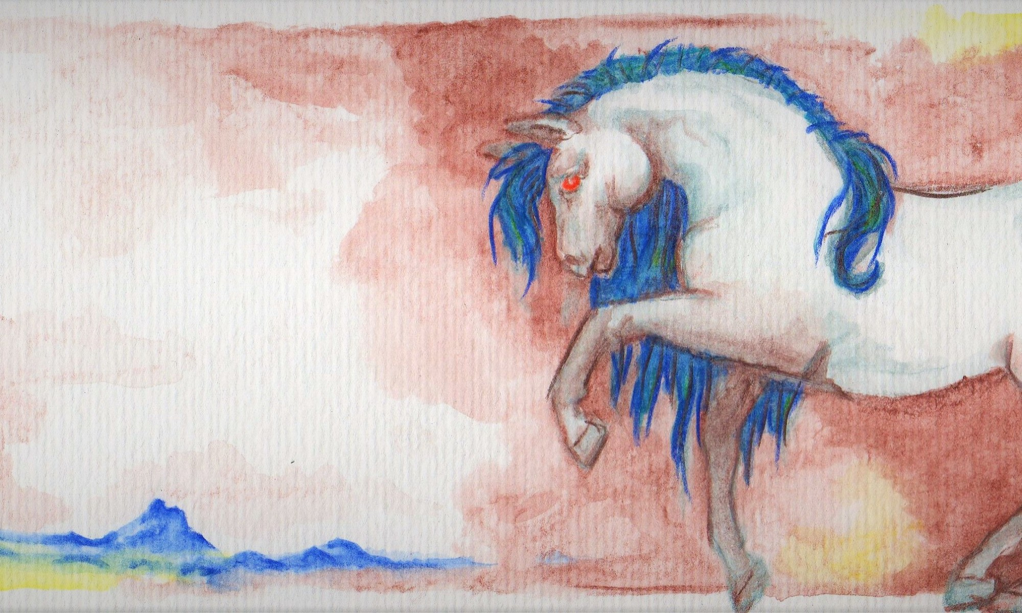 Mamaé. Lápis aquarelado, sobre papel. 10,5x27cm
