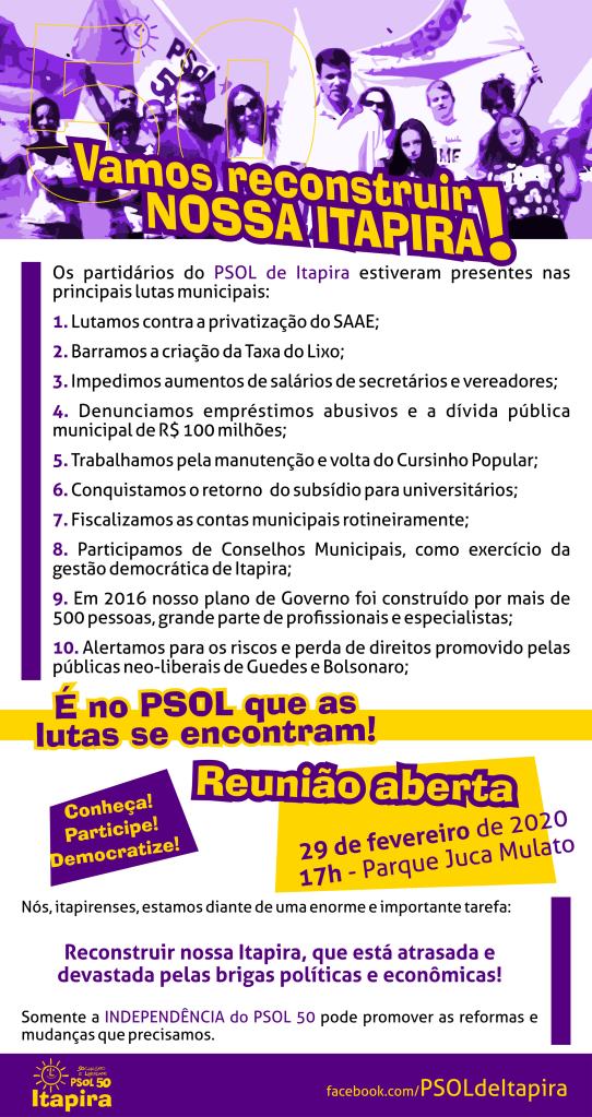 Chamada para a Reunião Aberta do PSOL de Itapira, no Parque Juca Mulato, as 17h.